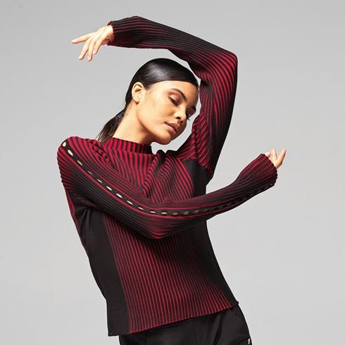 바이컬러 립 니트 스웨터 이미지 0
