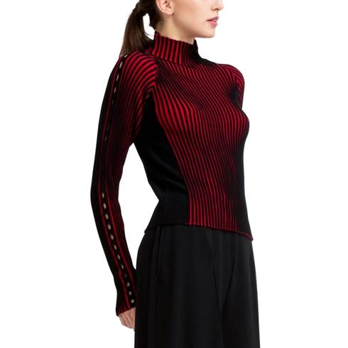 바이컬러 립 니트 스웨터 이미지 3
