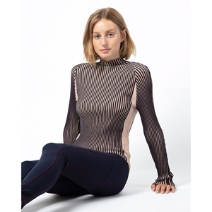 High-collar sweater in ribbed knit