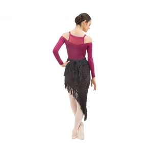 Knit shawl with fringes Second
