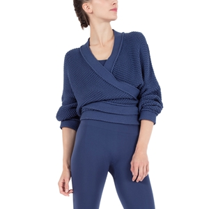 Wrap-over cardigan in fancy knitwear Second