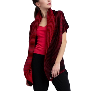 Bicolor ribknit wrap-over Second