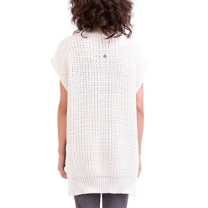 3D knit long top with poncho shape Second